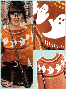 BlissGirl - Retro Ghost Sweater - S - Harajuku - Kawaii - Alternative - Fashion