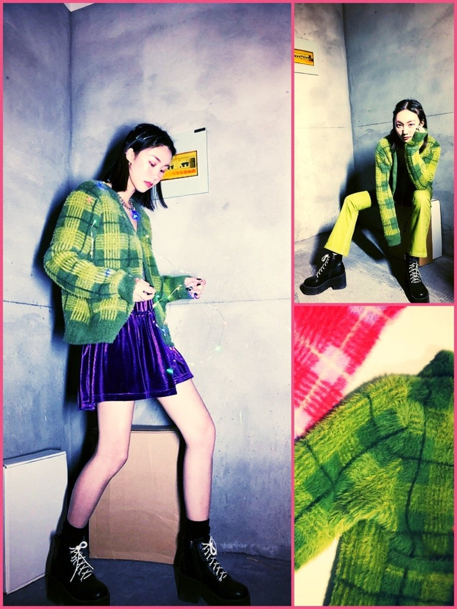 BlissGirl - Retro Plaid Cardigan Sweater - Green / One Size - Harajuku - Kawaii - Alternative - Fashion
