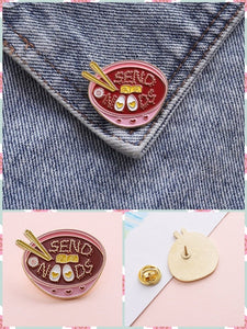 BlissGirl - Send Noods Pin - Noods - Harajuku - Kawaii - Alternative - Fashion