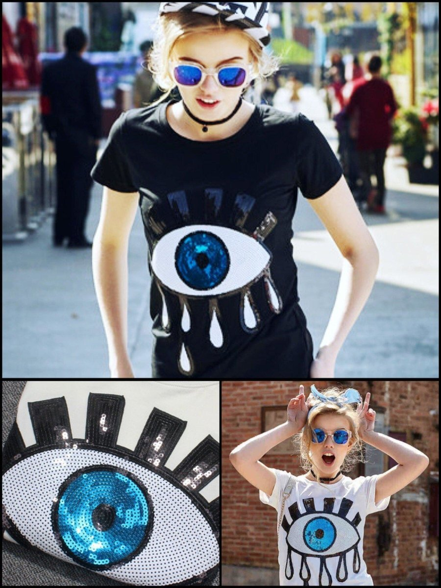 BlissGirl - Sequin Eye Tee - Harajuku - Kawaii - Alternative - Fashion