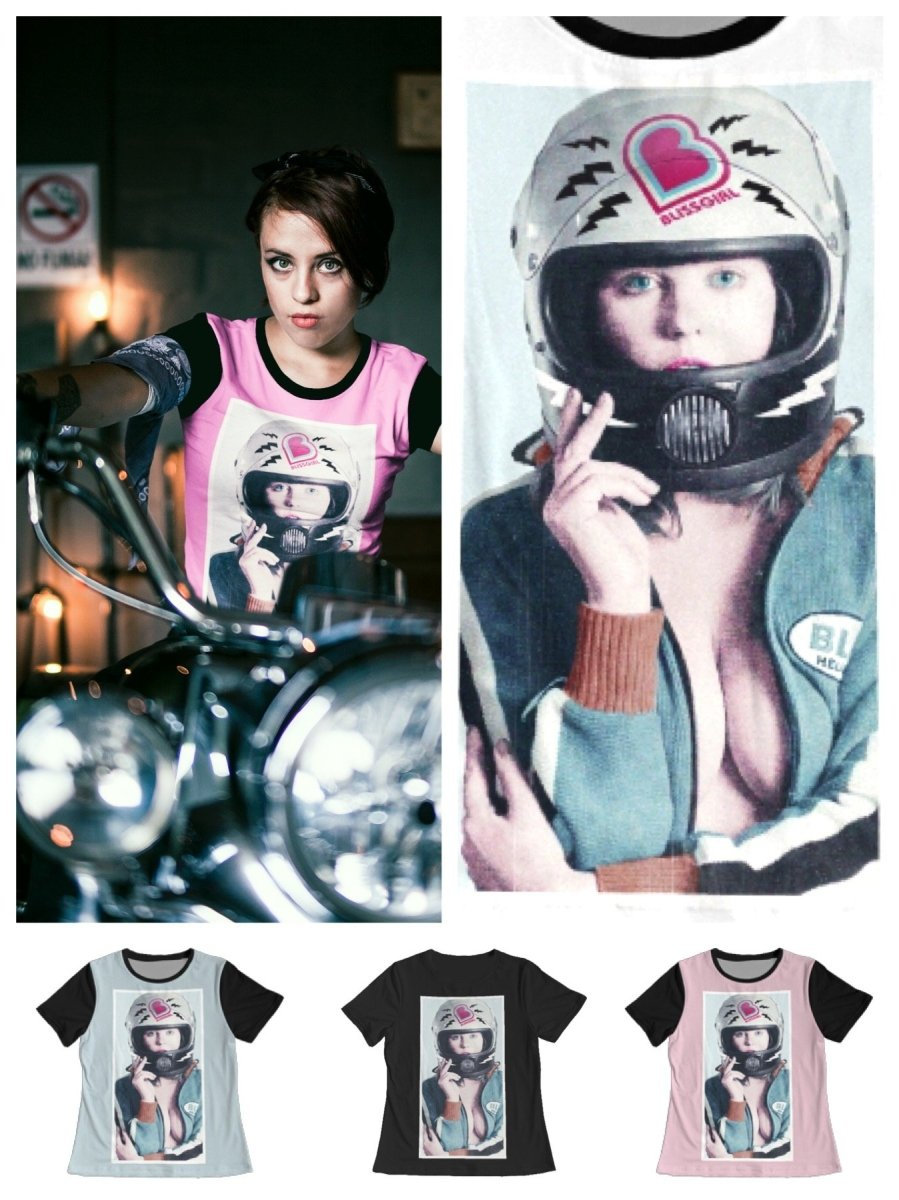 BlissGirl - Sexy Biker Girl Tee - Harajuku - Kawaii - Alternative - Fashion