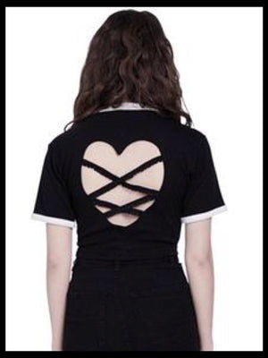 BlissGirl - Sexy Open Back Heart Crop Tee - Harajuku - Kawaii - Alternative - Fashion