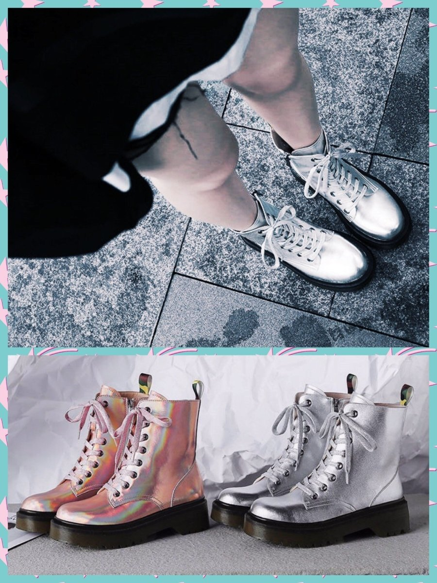BlissGirl - Shiny Platform Leather Boots - Harajuku - Kawaii - Alternative - Fashion