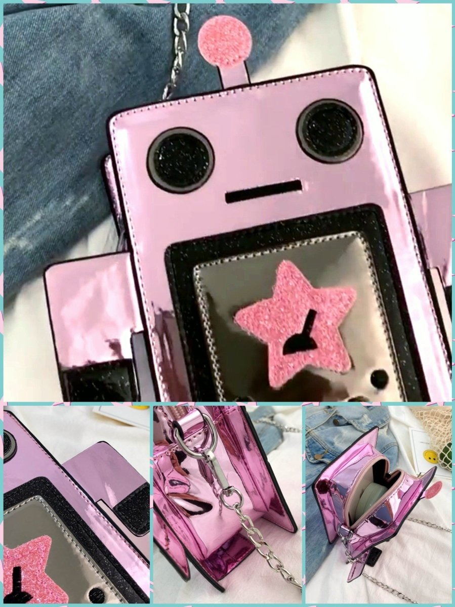 BlissGirl - Shiny Robot Purse - Pink - Harajuku - Kawaii - Alternative - Fashion