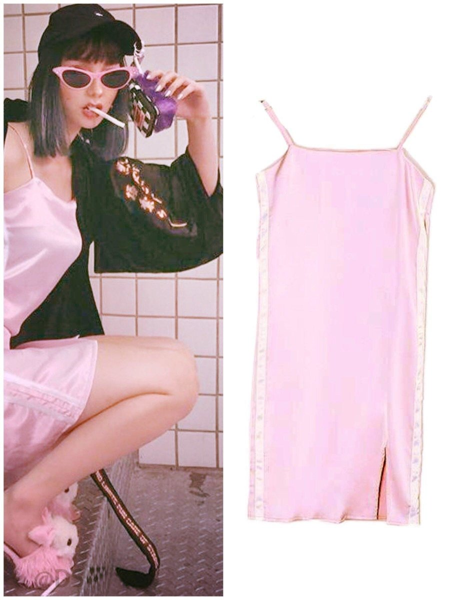 BlissGirl - Silky Side Stripe Slip Dress - Pink / S - Harajuku - Kawaii - Alternative - Fashion