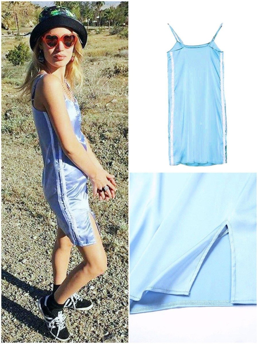 BlissGirl - Silky Side Stripe Slip Dress - Sky Blue / S - Harajuku - Kawaii - Alternative - Fashion