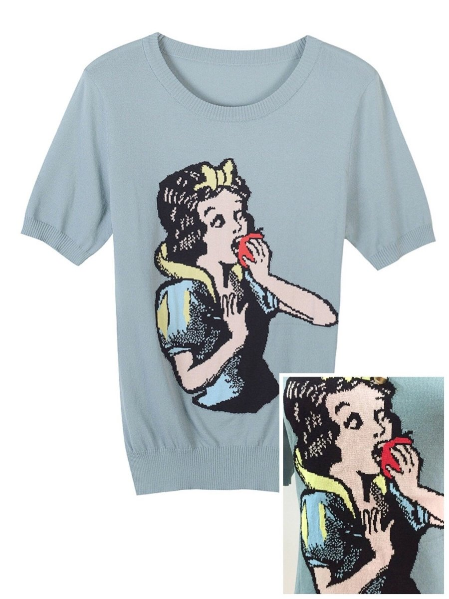 BlissGirl - Snow White Eats The Apple Sweater - Blue / M - Harajuku - Kawaii - Alternative - Fashion