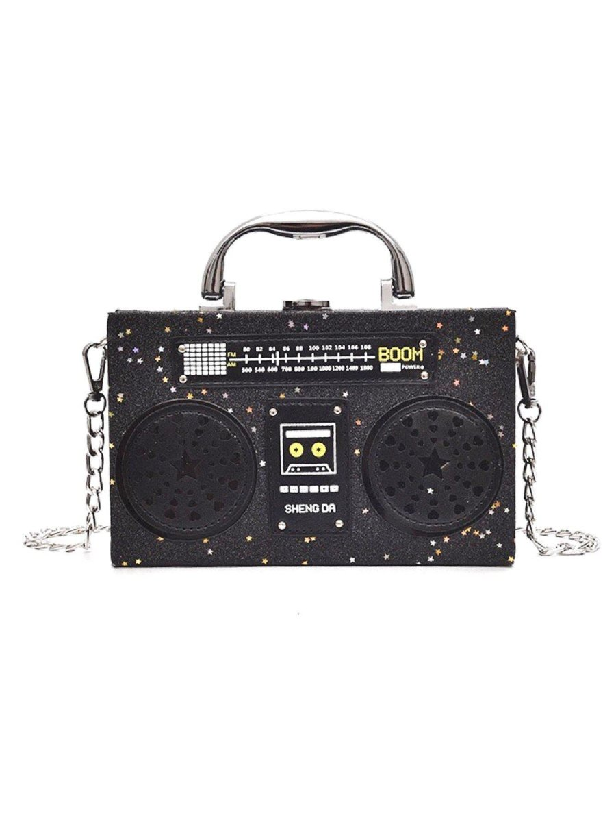 BlissGirl - Sparkly Boom Box Purse - Black Star - Harajuku - Kawaii - Alternative - Fashion