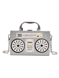 BlissGirl - Sparkly Boom Box Purse - Silver - Harajuku - Kawaii - Alternative - Fashion