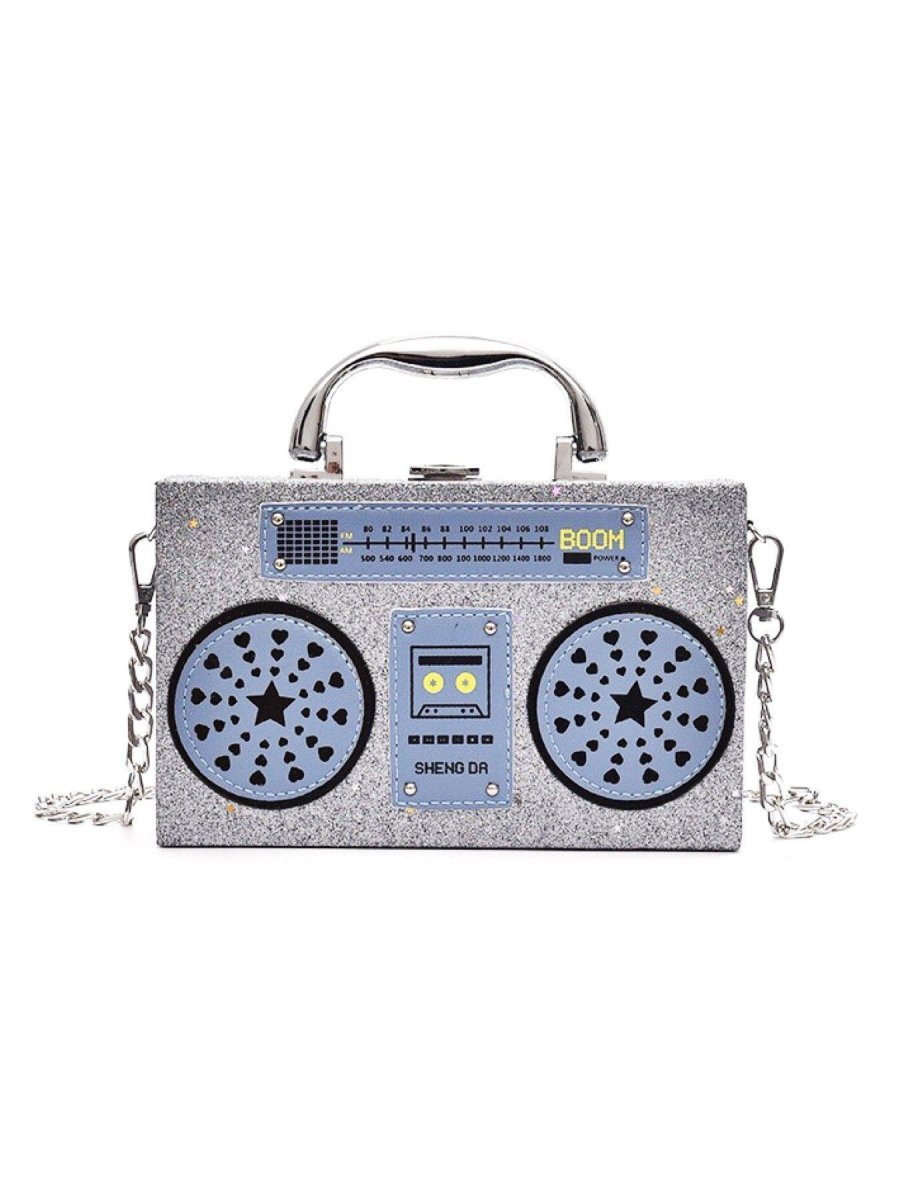 BlissGirl - Sparkly Boom Box Purse - Silver Blue - Harajuku - Kawaii - Alternative - Fashion