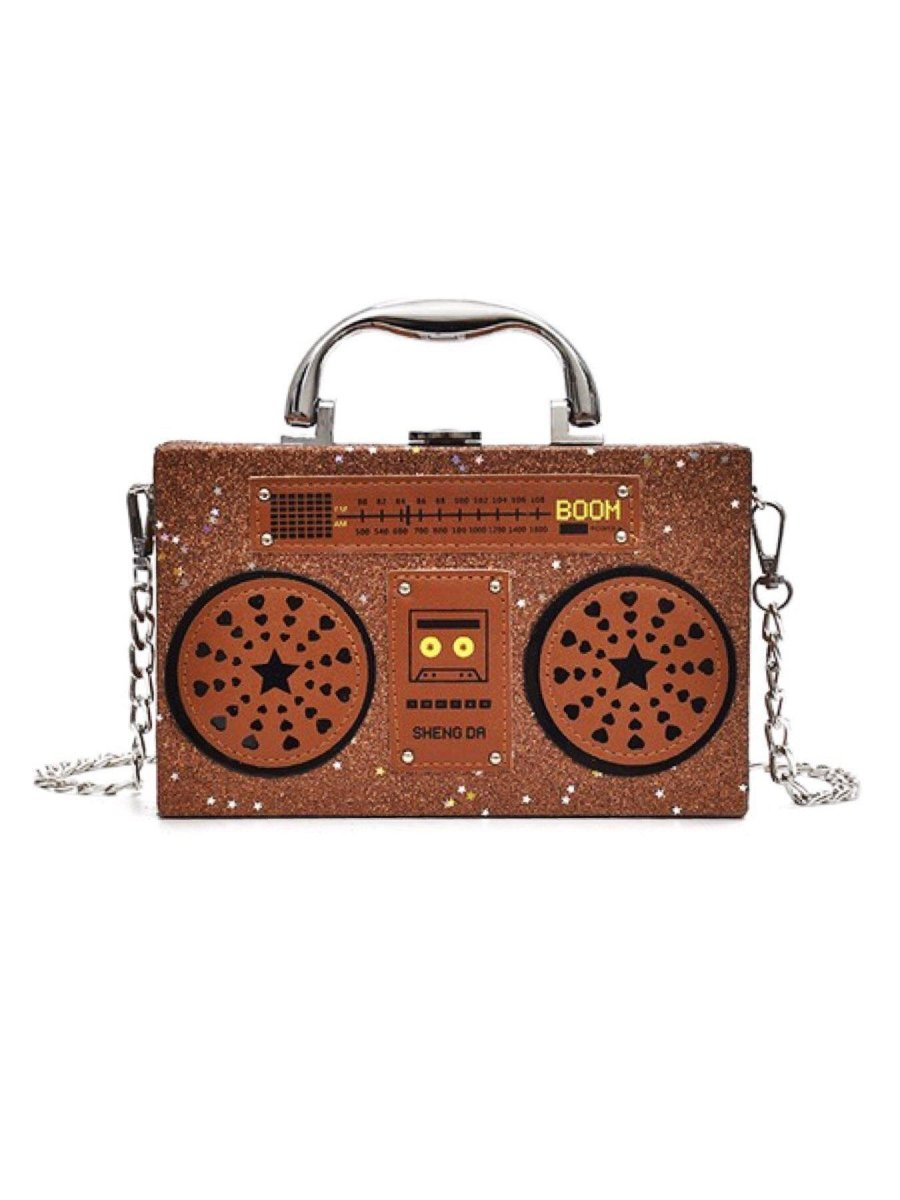 BlissGirl - Sparkly Boom Box Purse - Brown - Harajuku - Kawaii - Alternative - Fashion