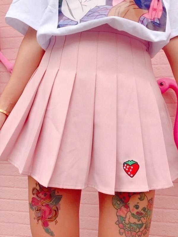 BlissGirl - Strawberry Pleated Skirt - Pink / S - Harajuku - Kawaii - Alternative - Fashion