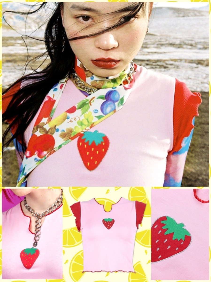 BlissGirl - Strawberry Tee - L - Harajuku - Kawaii - Alternative - Fashion