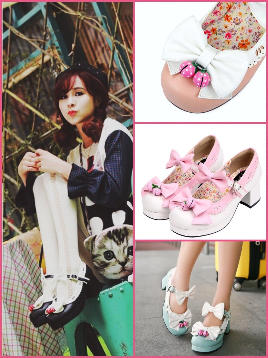 BlissGirl - Sweet Strawberry Bell Shoes - Harajuku - Kawaii - Alternative - Fashion