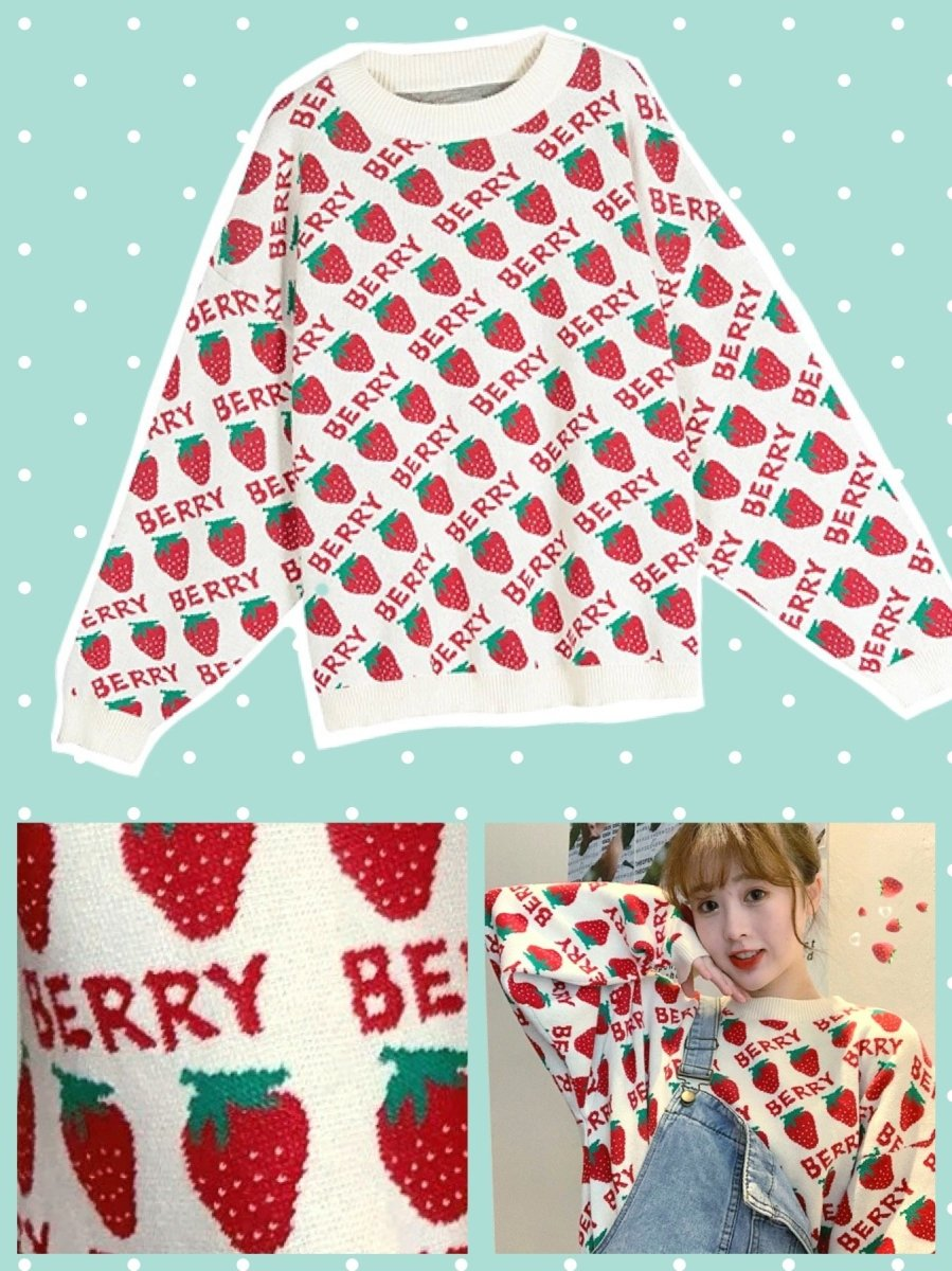 BlissGirl - Sweet Strawberry Sweater - One size - Harajuku - Kawaii - Alternative - Fashion