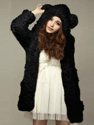 BlissGirl - Teddy Bear Jacket - Black / S - Harajuku - Kawaii - Alternative - Fashion
