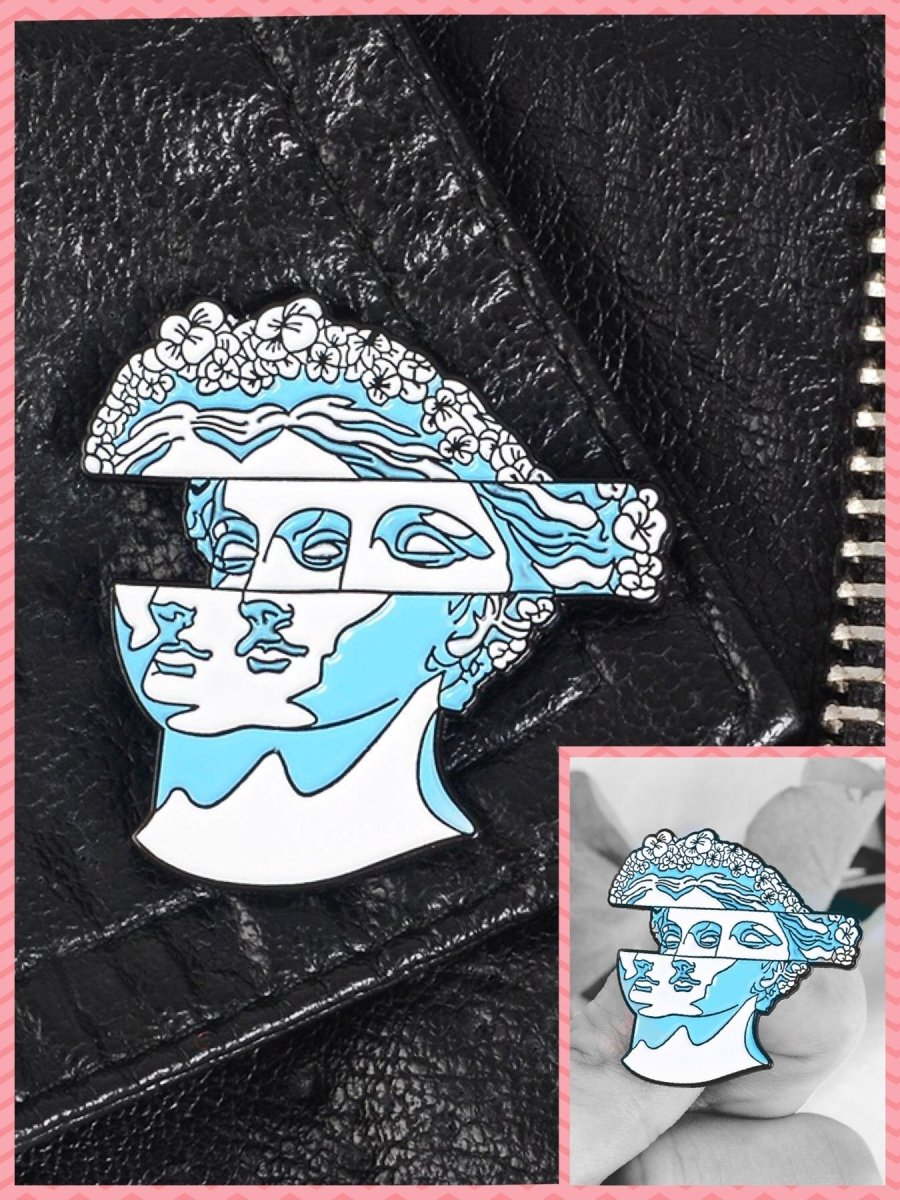 BlissGirl - VaporWave Statue Pin - Blue - Harajuku - Kawaii - Alternative - Fashion