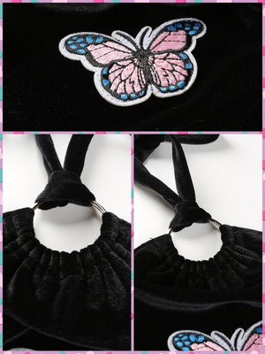 BlissGirl - Velvet Butterfly Halter Top - Harajuku - Kawaii - Alternative - Fashion