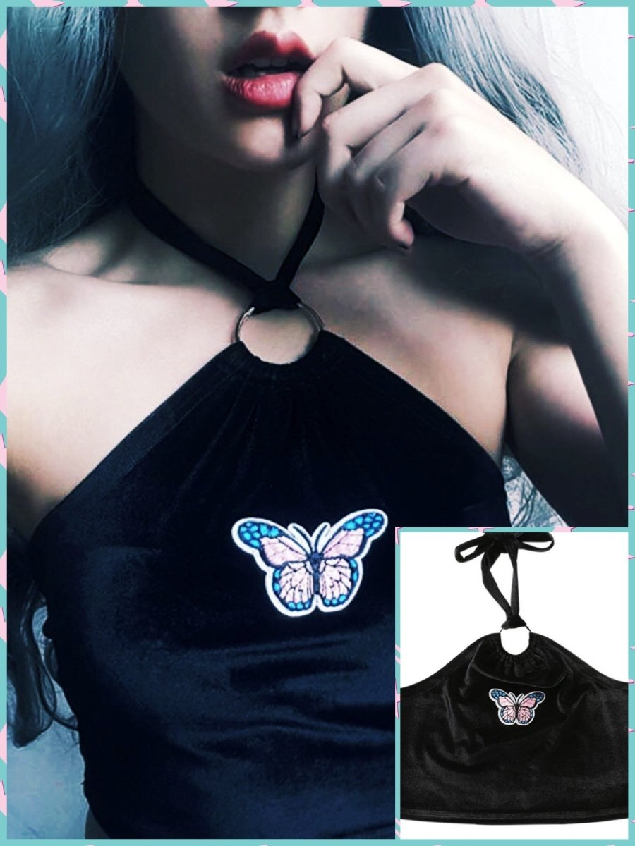 BlissGirl - Velvet Butterfly Halter Top - S - Harajuku - Kawaii - Alternative - Fashion