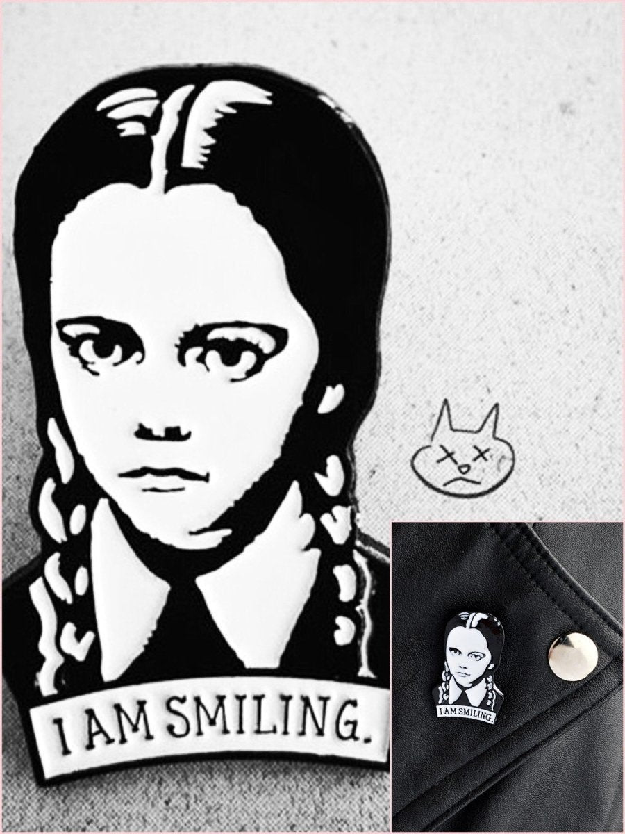 BlissGirl - Wednesday Addams I AM SMILING Brooch - Black - Harajuku - Kawaii - Alternative - Fashion
