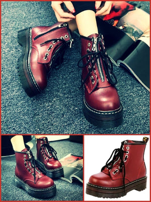 BlissGirl - Zipper Martin Boots - Red / 40 - Harajuku - Kawaii - Alternative - Fashion