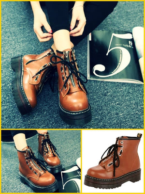 BlissGirl - Zipper Martin Boots - Brown / 35 - Harajuku - Kawaii - Alternative - Fashion
