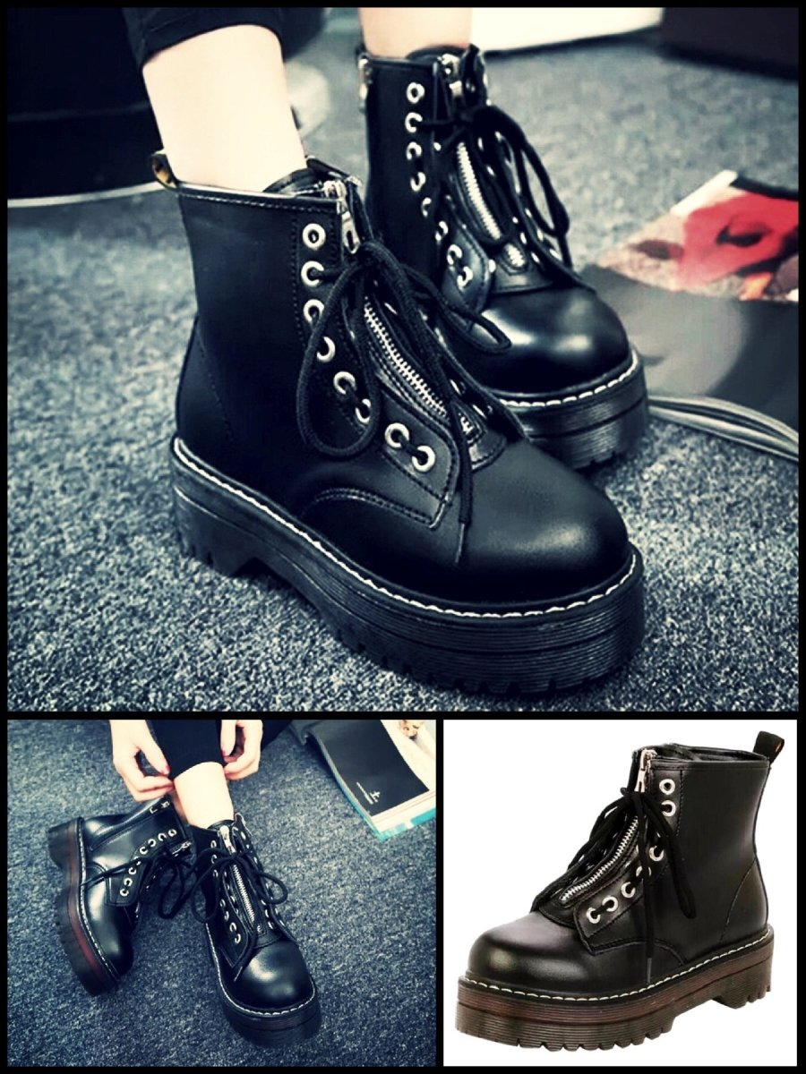 BlissGirl - Zipper Martin Boots - Black / 38 - Harajuku - Kawaii - Alternative - Fashion