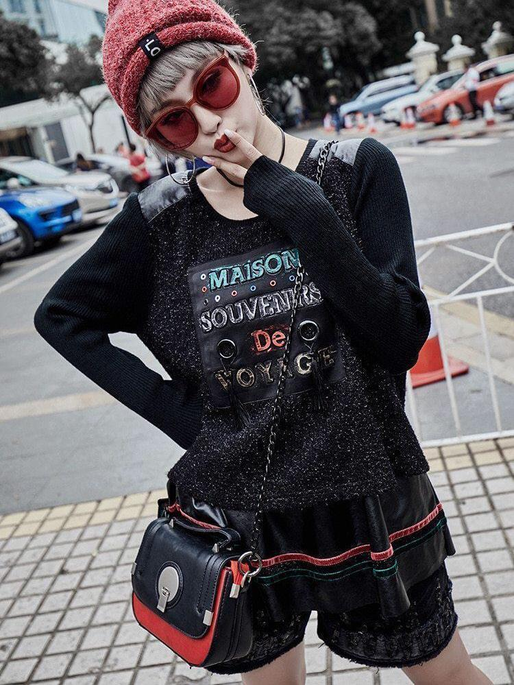 BlissGirl - French Patchwork Punk Sweater - - Harajuku - Kawaii - Alternative - Fashion