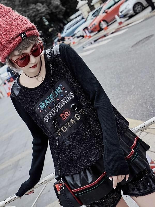 BlissGirl - French Patchwork Punk Sweater -