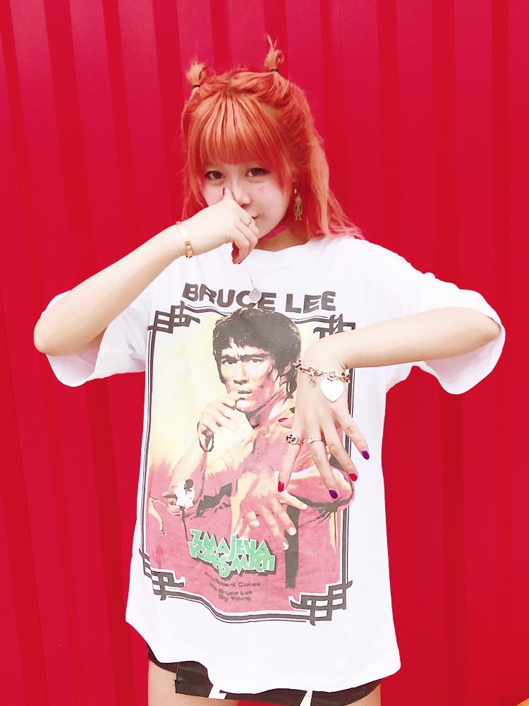 BlissGirl - Funny Retro Bruce Lee Tee - Red