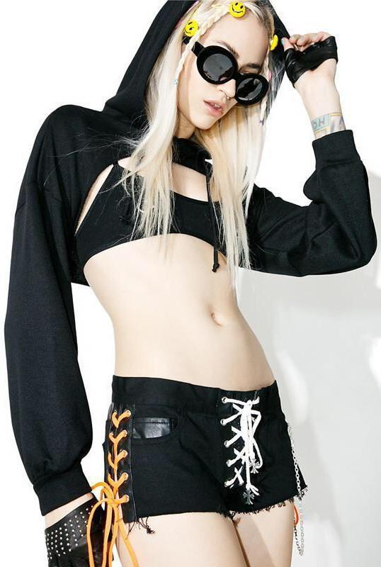 BlissGirl - Hot Cropped Hoodie - Black