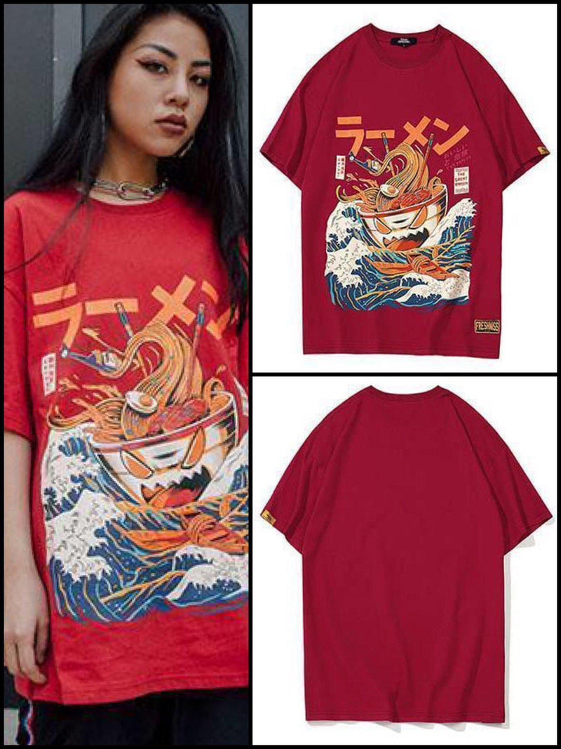 BlissGirl - Noodle Ship Tee - Wine Red / L - Harajuku - Kawaii - Alternative - Fashion