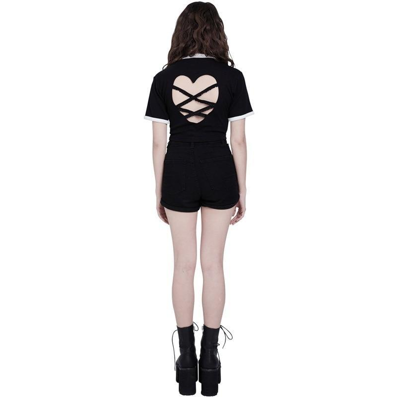 BlissGirl - Sexy Open Back Heart Crop Tee - - Harajuku - Kawaii - Alternative - Fashion