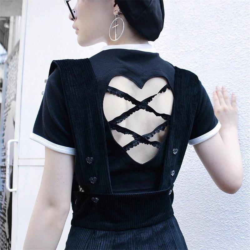 BlissGirl - Sexy Open Back Heart Crop Tee - Black / L - Harajuku - Kawaii - Alternative - Fashion