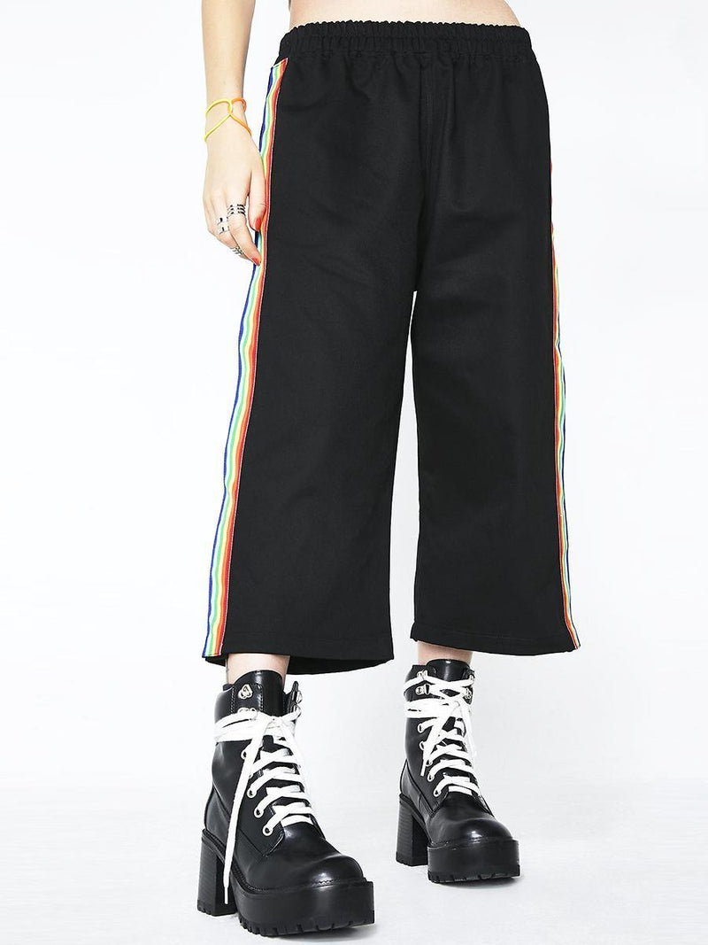 BlissGirl - Snap Me Rainbow Wide Leg Pants - - Harajuku - Kawaii - Alternative - Fashion