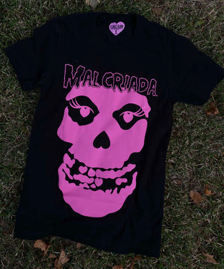 Malcriada Tee- Pink on Black