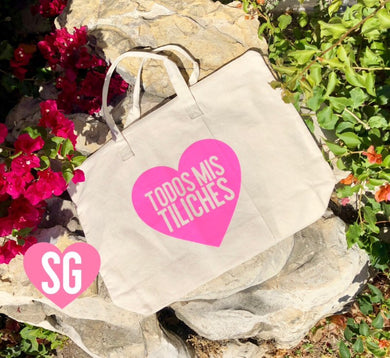 Todos Mis Tiliches Large Tote- Pink