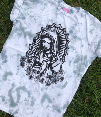 Virgencita Tee- Black Dye Wash