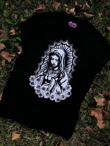 Virgencita Tee- Black Front Image Only