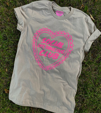 Social Distancing Club Tee- Pink on Tan