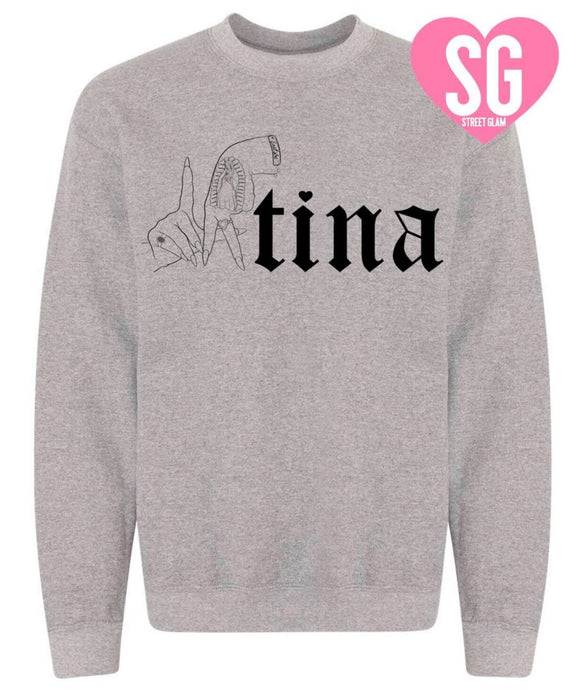 LAtina Crew Neck Sweater- Gray