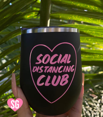 Social Distancing Club Stainless Steel Tumbler- Matte Black