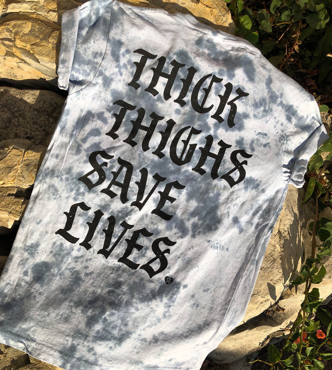 Thick Thighs Save Lives Tee- Black Dye Wash