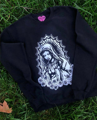 Virgencita Crew Neck Sweater- Black