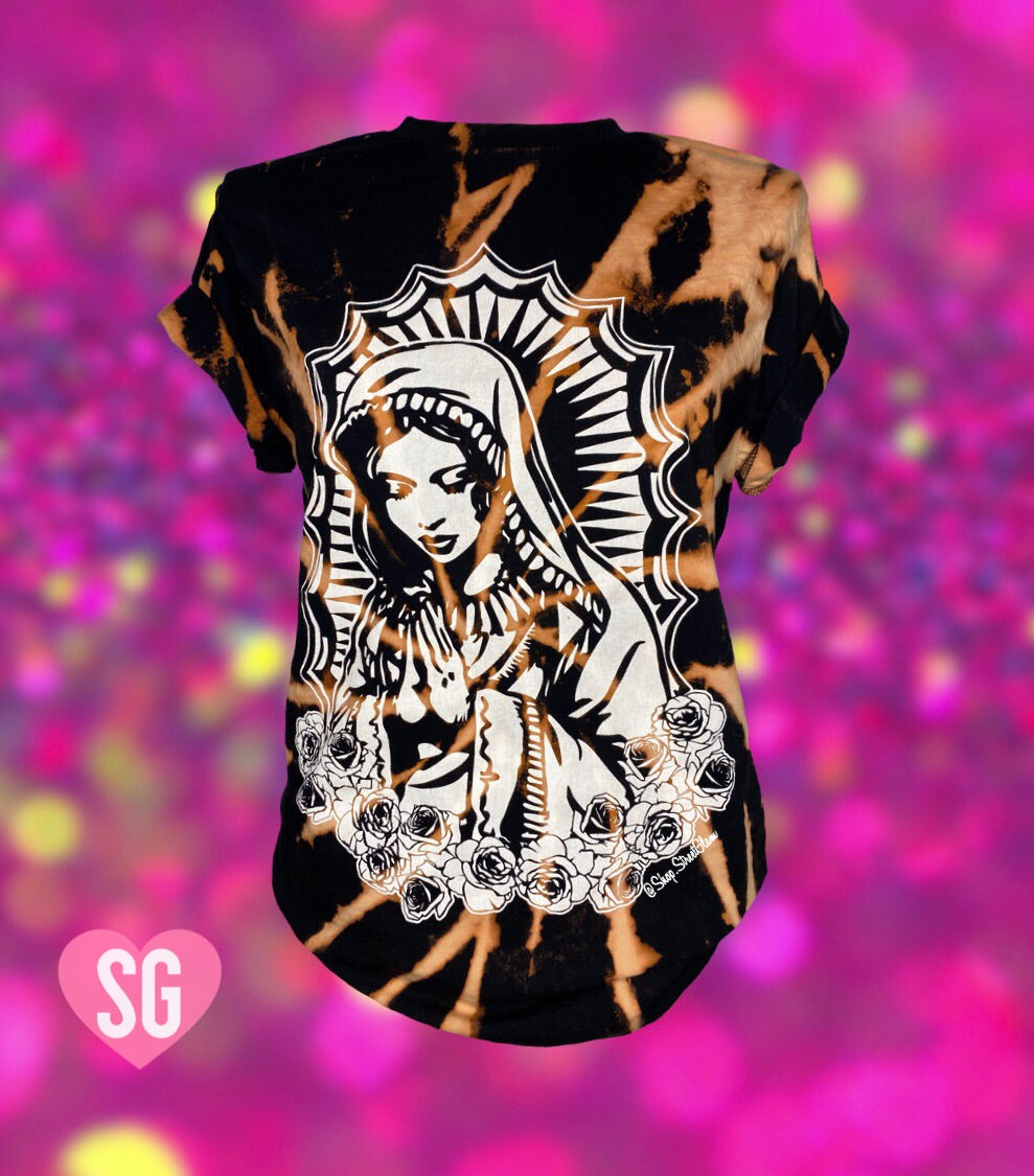 Virgencita Tee- White on Black Reverse Dye