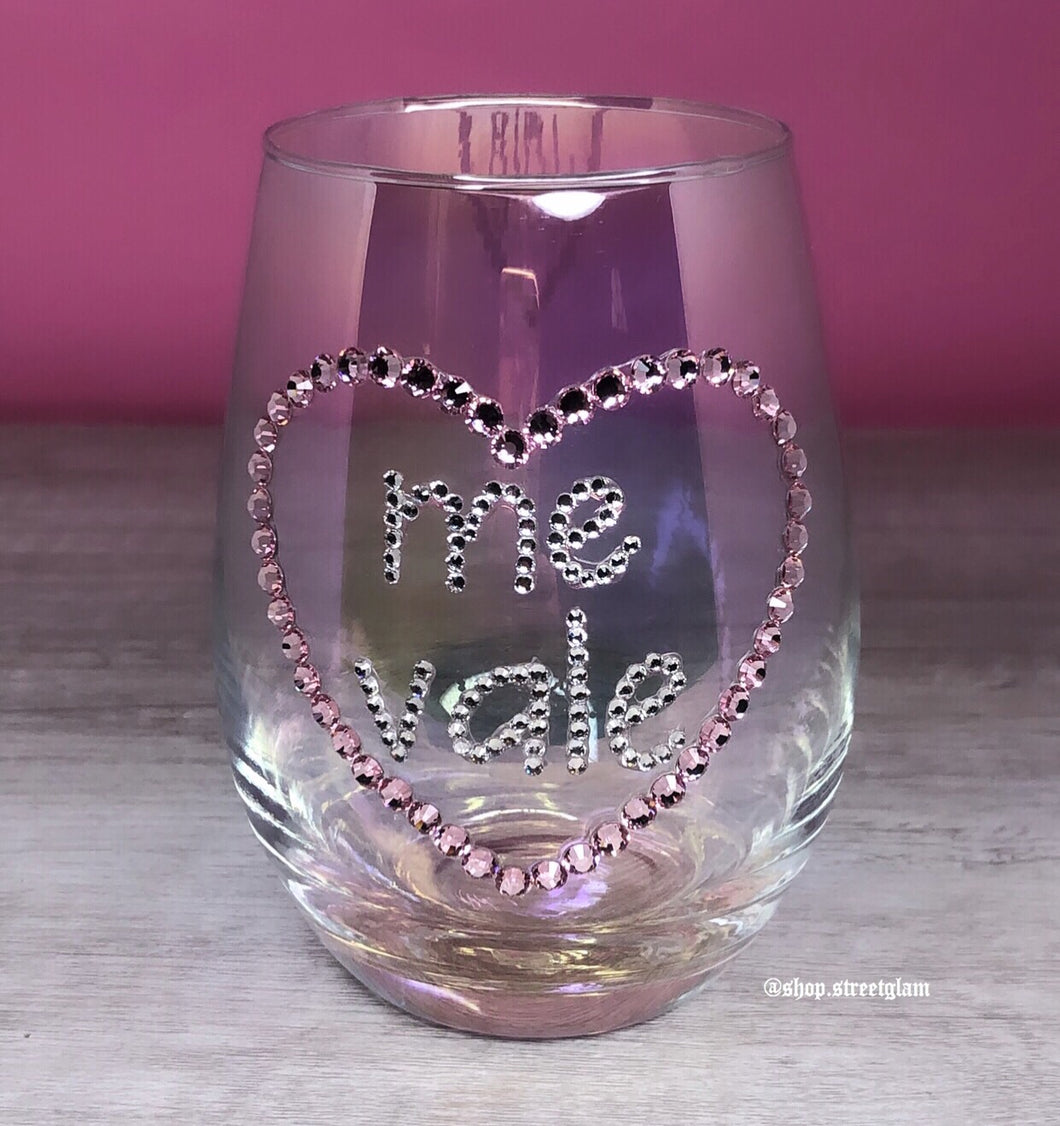 Me Vale Heart Wine Glass- Iridescent