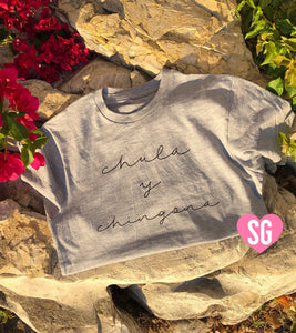 Chula y Chingona Tee- Cursive Black on Gray