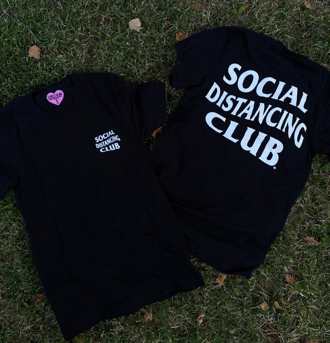 Social Distancing Club Tee- White on Black