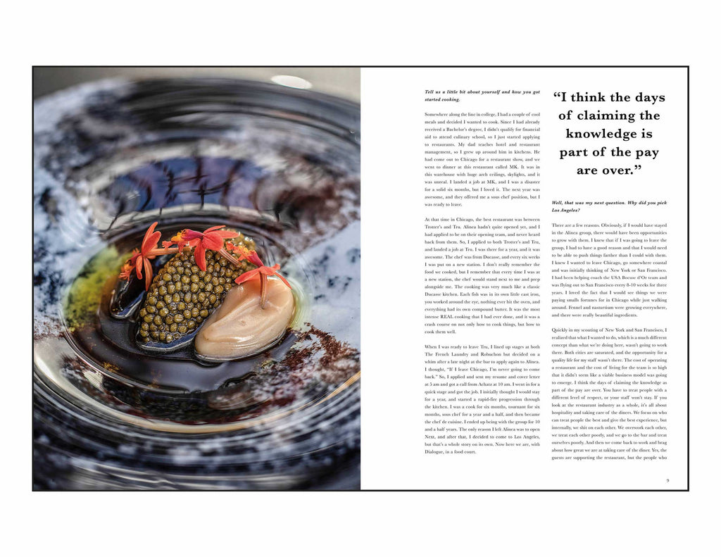 Toothache Magazine issue 5. Dave Beran, interview and caviar dish. A magazine made for chefs by chefs. Features food articles, interviews, and recipes from world class chefs.