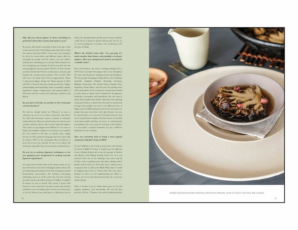 Toothache Magazine issue 5. Thomas Frebel, Maitake mushroom dish. A magazine made for chefs by chefs. Features food articles, interviews, and recipes from world class chefs.
